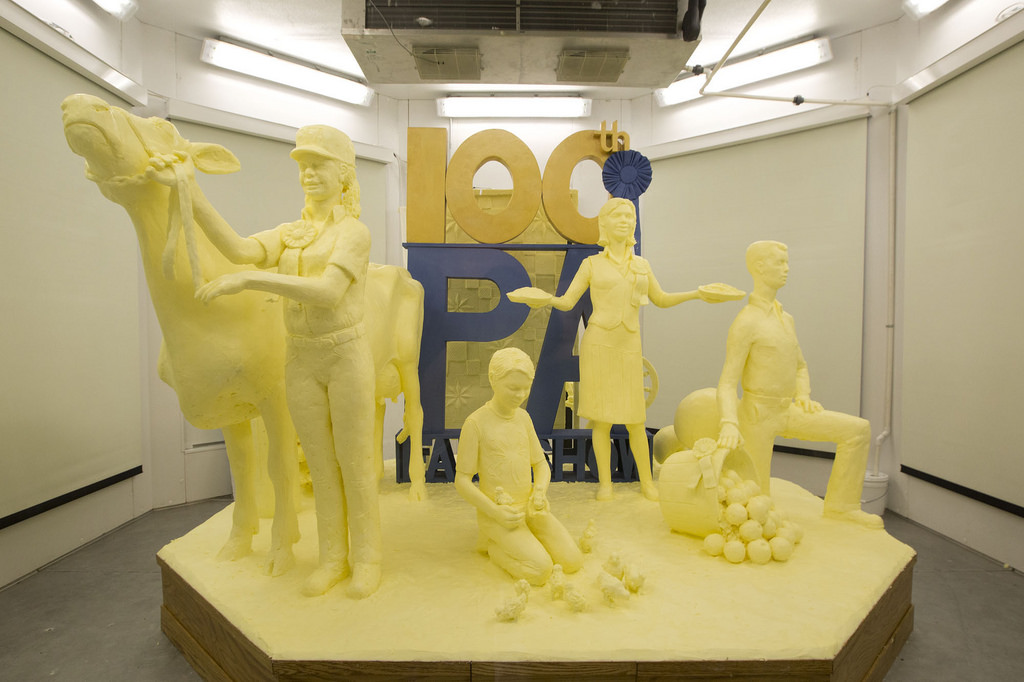 Butter sculpture pays tribute to the 100th Pennsylvania Farm Show and the state's agriculture industry.
