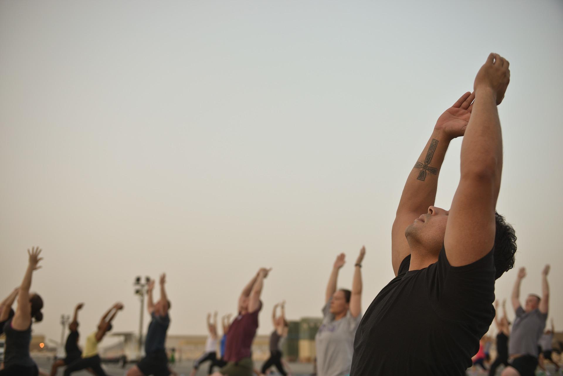 Join an outdoor yoga class
