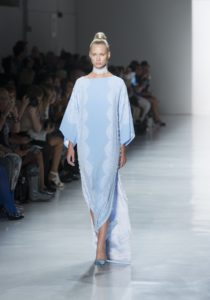 Toi Caftan in robin's egg blue with lace choker