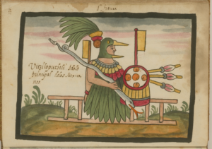 The Aztec god with hummingbird mask