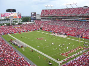"Raymond James Stadium, also known as the ""Ray Jay"", located in Tampa, Florida, is home to the Tampa Bay Buccaneers."