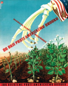 Propaganda poster in Russian dropping Colorado potato bug