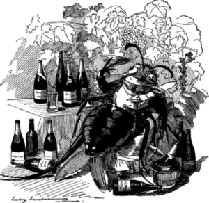 A cartoon depicting phylloxera enjoying wine