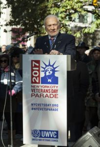 A veteran of the Korean War, Buzz Aldrin address the crowds at the Veterans Day Parade in NYC (Photo: Lev Radin)