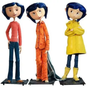 Three character models of Coraline stop-motion