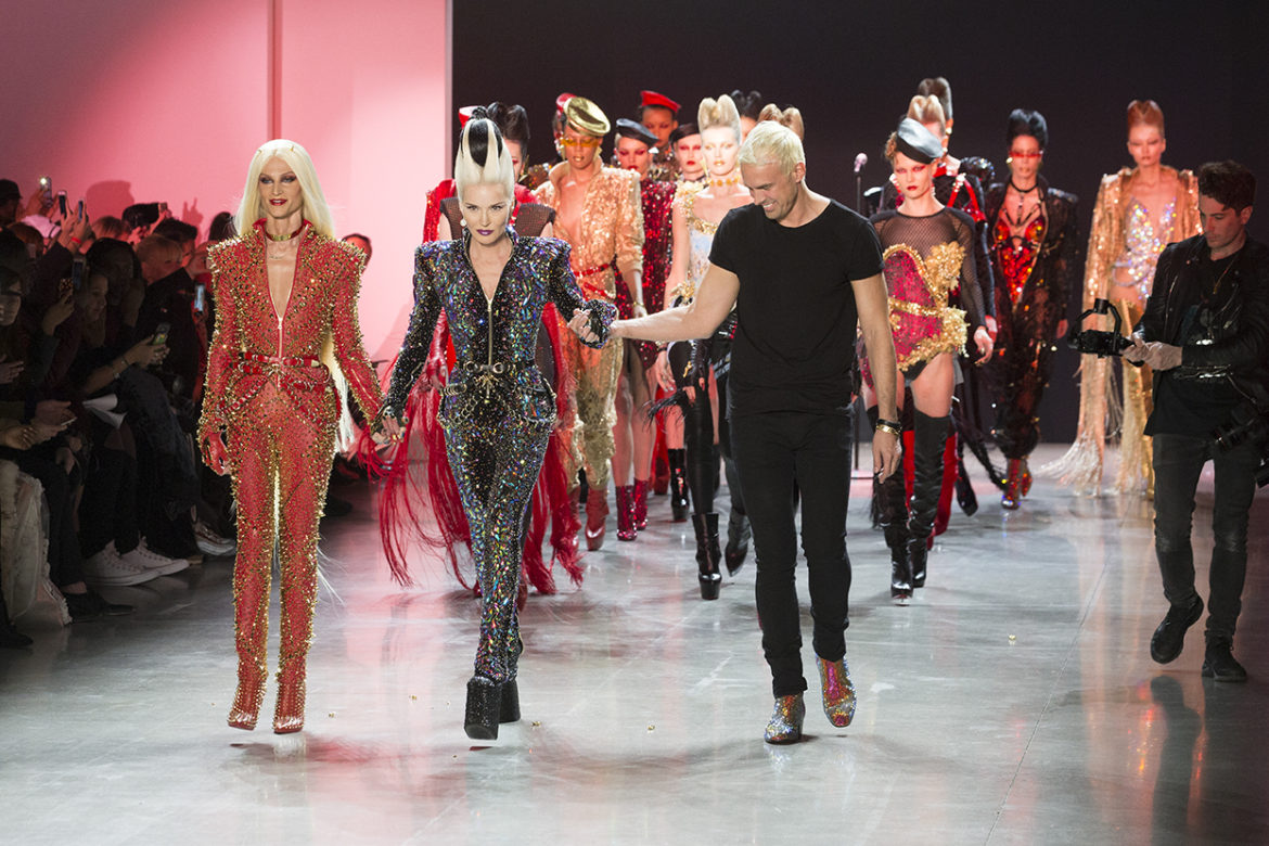 New York, NY - February 13, 2018: Phillipe Blond, Daphne Guinness, David Blond walk runway for The Blonds fashion show during Autumn/Winter 2018 New York Fashion Week at Spring Studios