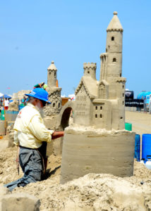 It was a hot day in Port Aransas, but this sand sculptor didn't care.
