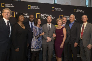 New York, NY - March 14, 2018: Jerry Linenger, Mae Jemison, Leland Melvin, Nicole Stott, Darren Aronofsky, Peggy Whitson, Chris Hadfield, Mike Massimino, Jeff Hoffman attend National Geographic world premiere screening of One Strange Rock at Alice Tully Hall