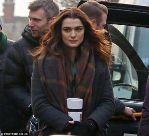 "Rachel Weisz, during a filming break for ""Disobedience."""