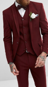 Wine, herringbone-style wedding suit