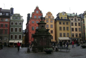 Colorful buildings line the square Stockholm
