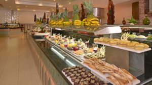 Lunch buffet at one all-inclusive vacation resort.