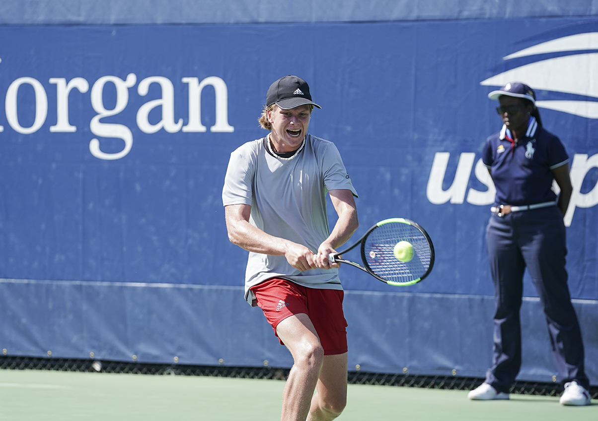 New York, NY - September 3, 2018: Jenson Brooksby of USA returns ball during US Open 2018 junior boys 1st round match against Valentin Royer of France at USTA Billie Jean King National Tennis Center (Photo: Lev Radin/Gildshire)
