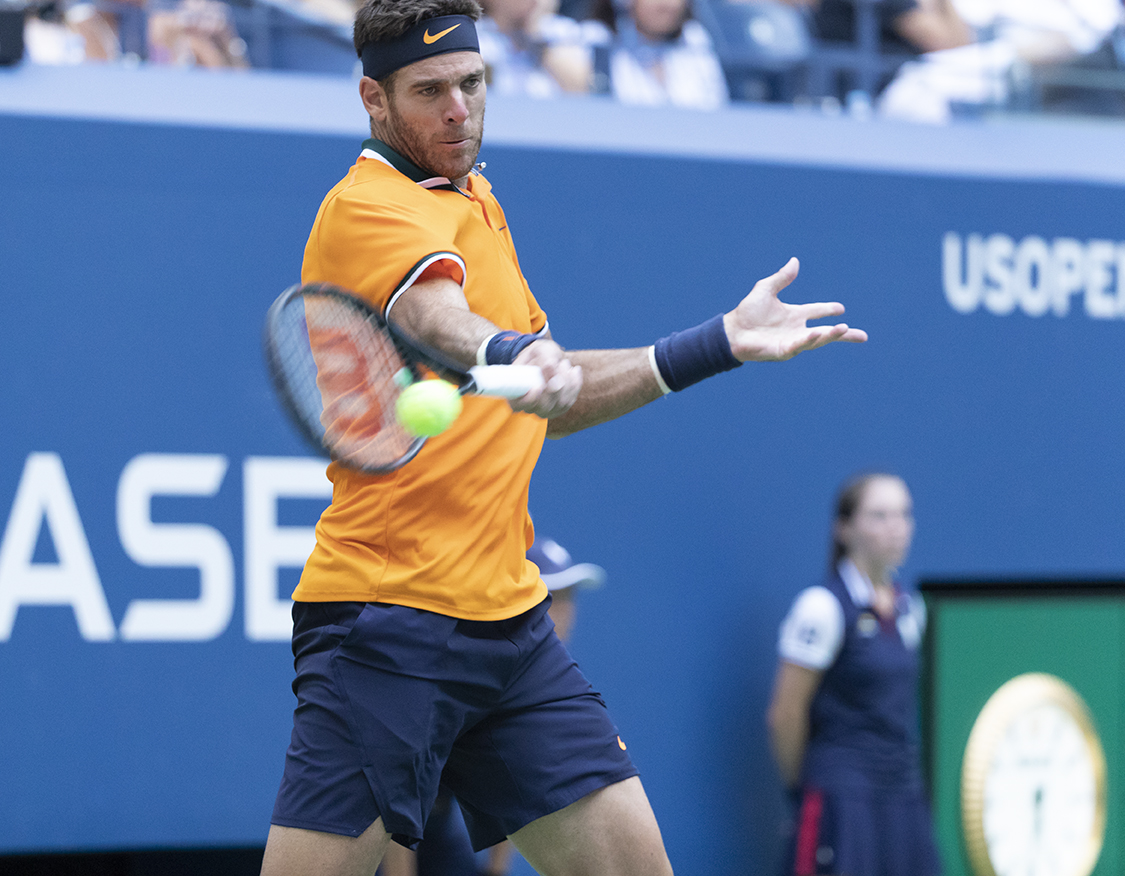 New York, NY - September 4, 2018: Juan Martin del Potro of Argentina returns ball during US Open 2018 quarterfinal match against John Isner of USA at USTA Billie Jean King National Tennis Center (Photo: Lev Radin/Gildshire)