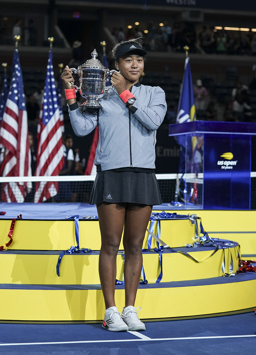 New York, NY - September 8, 2018: Naomi Osaka of Japan women's single final winner of US Open 2018 poses with trophy at USTA Billie Jean King National Tennis Center (Photo: Lev Radin/Gildshire)