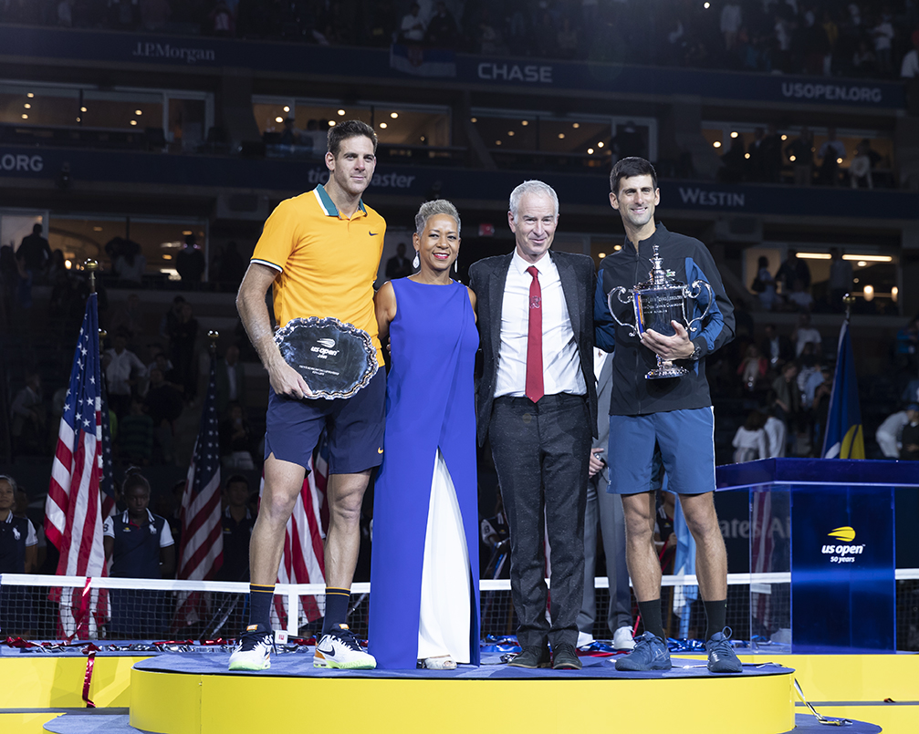 New York, NY - September 9, 2018: Trophy presentation for men's single final of US Open 2018 with Novak Djokovic of Serbia & Juan Martin del Potro of Argentina, Katrina Adams, John McEnroe at USTA Billie Jean King National Tennis Center (Photo: Lev Radin/Gildshire)