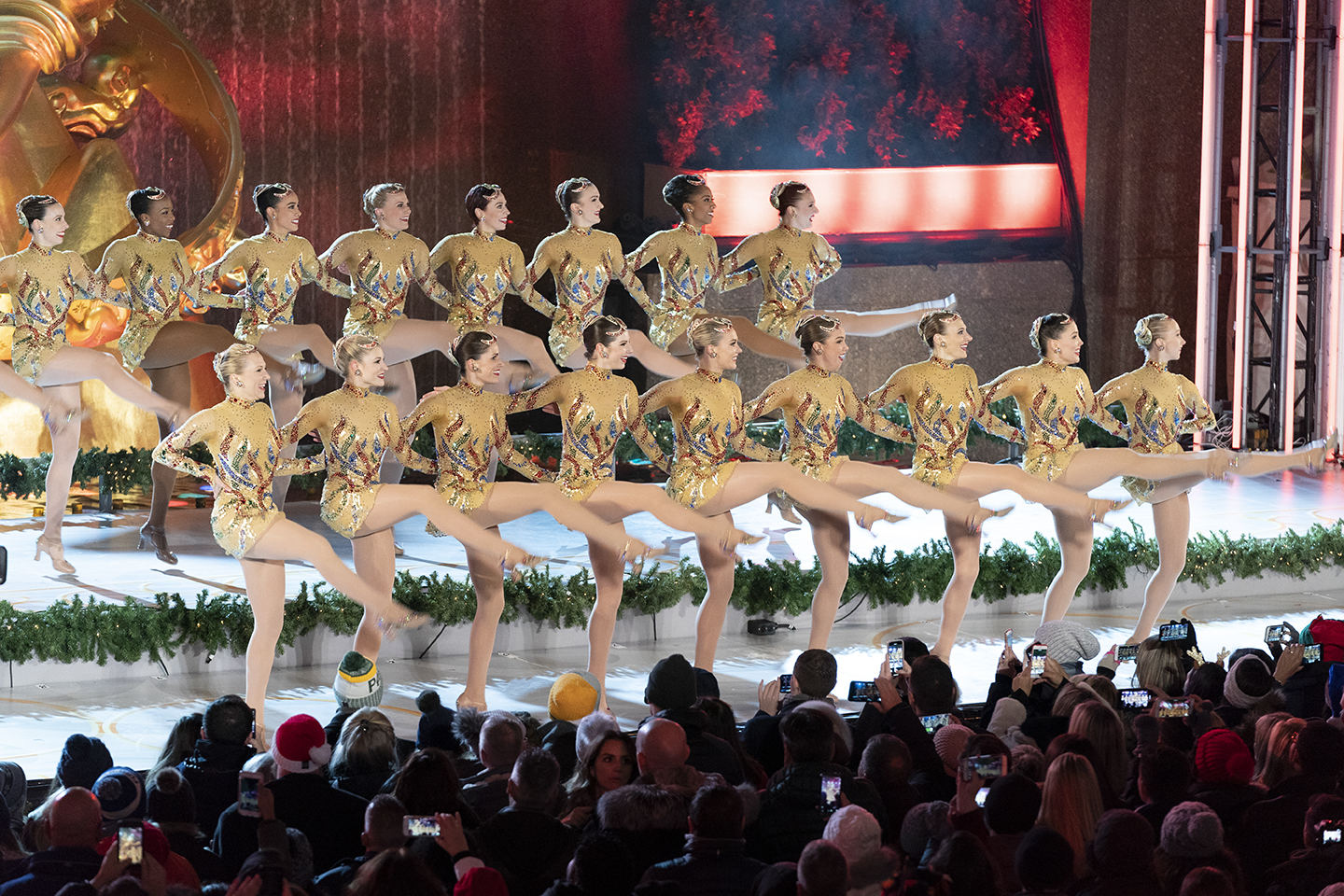 New Yrok, NY - November 28, 2018: The Radio City Rockettes perform during 86th Annual Rockefeller Center Christmas Tree Lighting Ceremony at Rockefeller Center (Photo: Lev Radin)