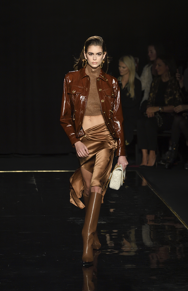 New York, NY - December 2, 2018: Kaia Gerber walks runway at the Versace Pre-Fall 2019 Collection at The American Stock Exchange (Photo: Lev Radin)