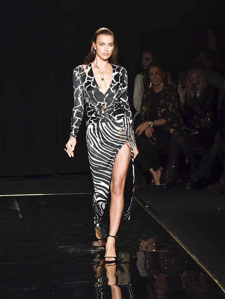 New York, NY - December 2, 2018: Irina Shayk walks runway at the Versace Pre-Fall 2019 Collection at The American Stock Exchange (Photo: Lev Radin)