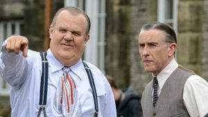 left to right, John C. Reilly as Oliver Hardy and Steve Coogan as Stan Laurel.
