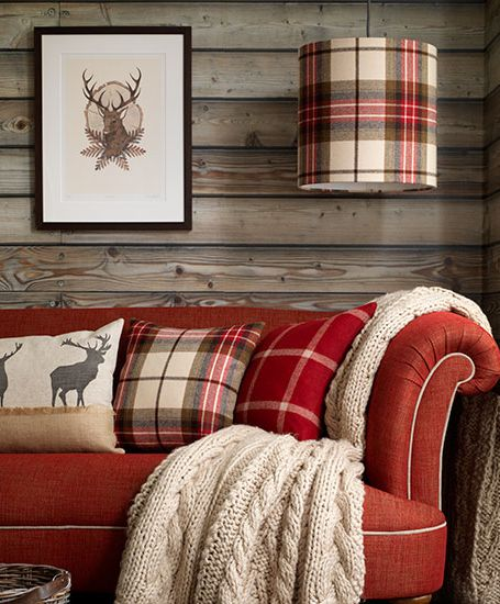 Decorative winter pillows and throws add a touch of holiday spirit.