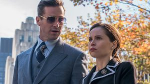 (l to r.) Armie Hammer as Marty Ginsburg and Felicity Jones as Ruth Bader Ginsburg.