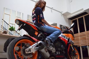 Female riders maintain their bikes very well.