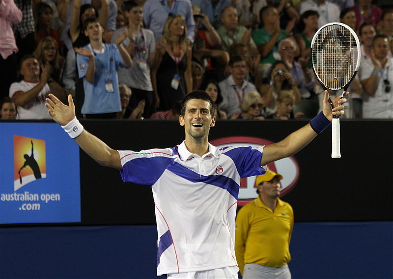 Novak Djokovic celebrates his 2019 Australia Open title, garnered with an impressive win over Rafael Nadal.