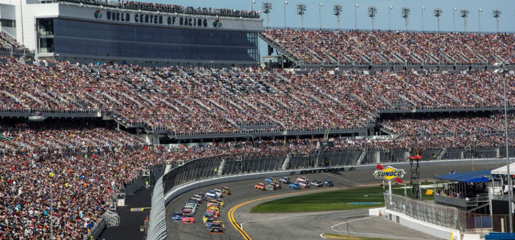 The first lap of the Daytona 500 brings the huge crowd to its feet.