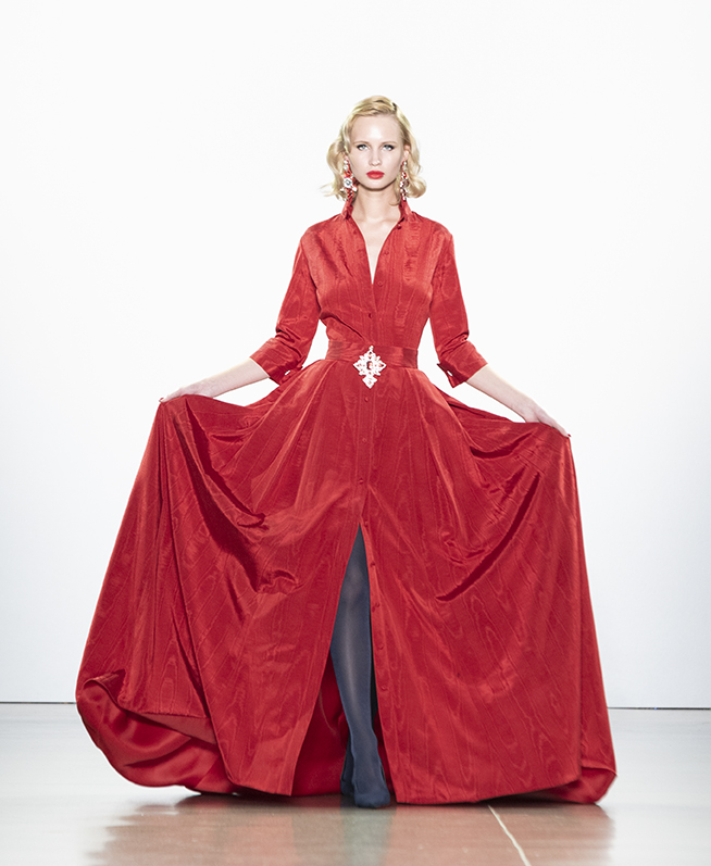 New York, NY - February 13, 2019: Model walks runway for Zang Toi Fall/Winter collection during New York Fashion Week at Spring Studios (Photo:Lev Radin/Gildshire)