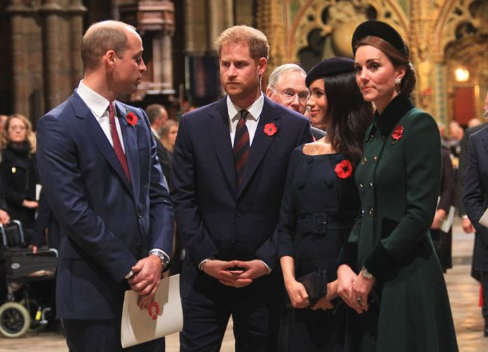 l to r, William, Harry, Meghan, and Kate. Now, the second youngest generation of the royal family.