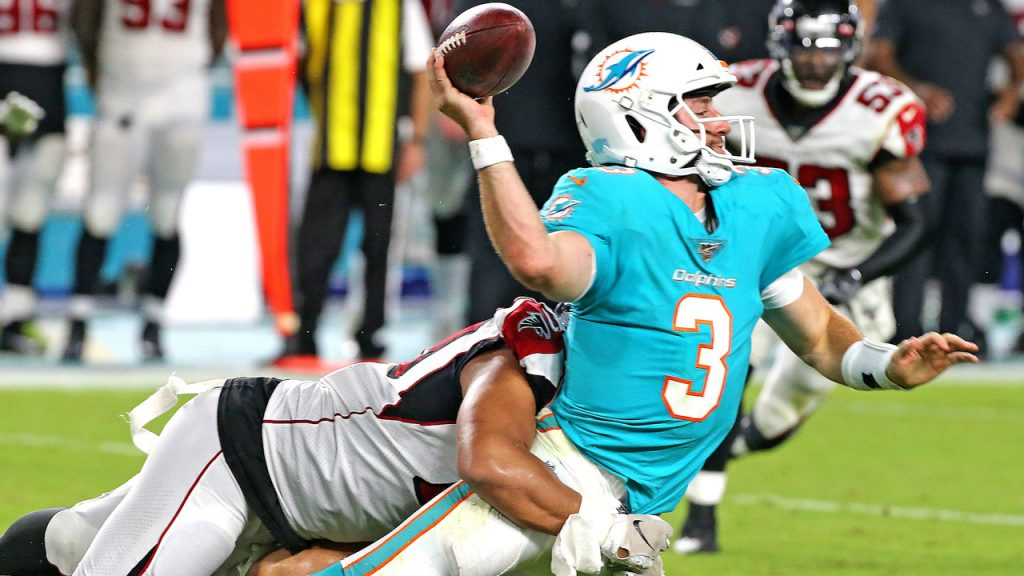 Perhaps nowhere are the questions facing teams more profound than in Miami. Here, Josh Rosen gets sacked in a preseason game.