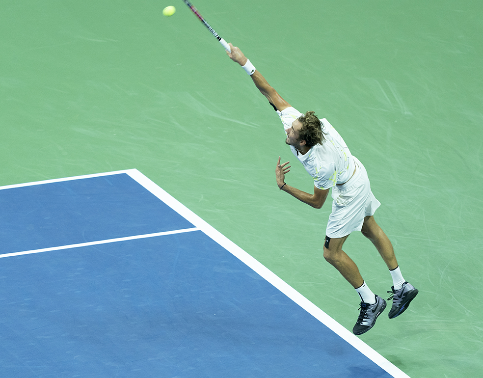 New York, NY - September 6, 2019: Daniil Medvedev (Russia) in action during mens semifinal match at US Open Championships against Grigor Dimitrov (Bulgaria) at Billie Jean King National Tennis Center (Photo: Lev Radin/Gildshire)