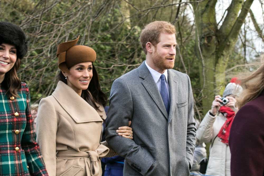 Prince Harry and Meghan Markle with other members of the Royal family going to church at Sandringham on Christmas Day 2017