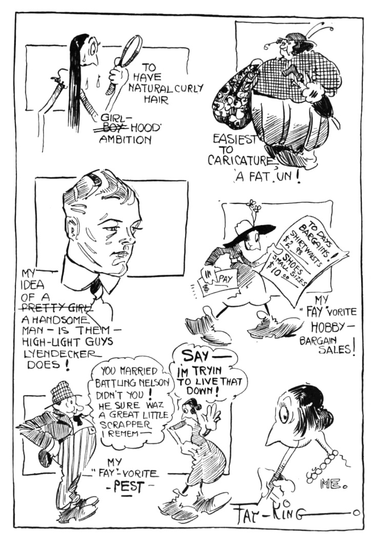 "Autobiographical Cartooning: ""Cartoonist's Confessional"", a 1918 autobio strip by Fay King. Second-to-last cartoon refers to her widely-covered 1916 divorce from boxer Oscar ""Battling"" Nelson."