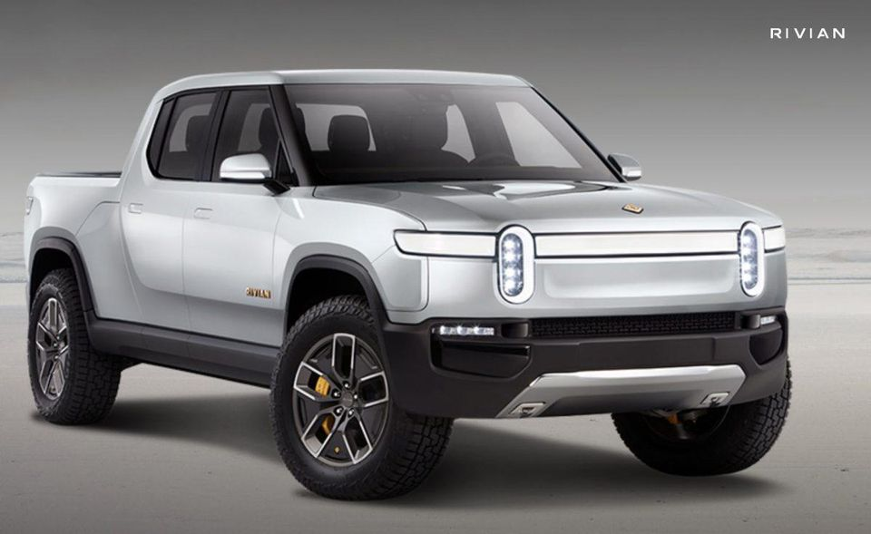 The Rivian and the Tesla truck could hardly look more dissimilar.