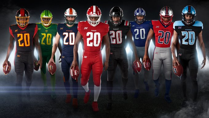 Left to right the uniforms for Los Angeles, Tampa Bay, Seattle, DC, New York, St. Louis, Houston, and Dallas. The new XFL.