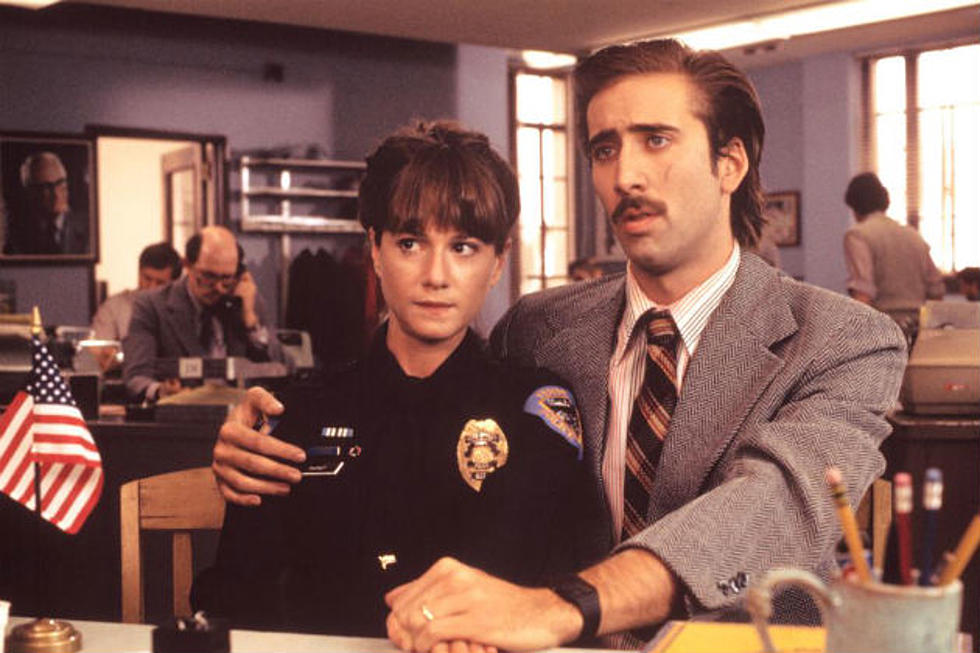 Holly Hunter and Nicolas Cage in Raising Arizona. One of the greatest movie comedies.