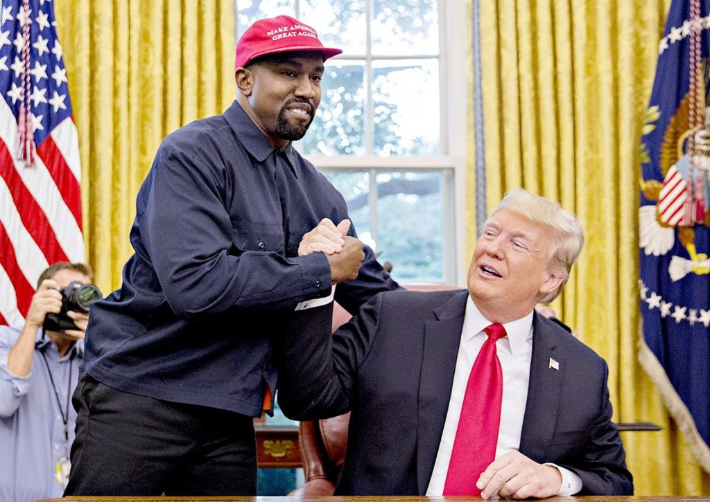 Kanye West at his fitting for the Presidential chair.