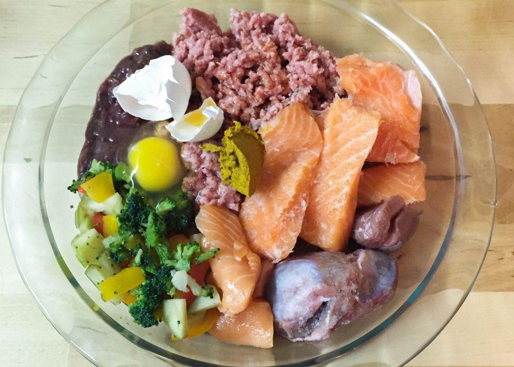 A typical BARF raw dog food diet.