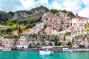 With its dramatic rocky coastline and gorgeous blue waters, the Amalfi Coast is one of the most picturesque sites in all of Italy