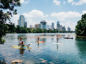 The Best Cities for Students: Austin, Texas - Downtown view over the water from Lou Neff point of Lady Bird Hike and Bike Trail.